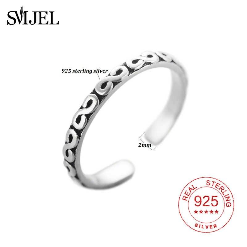 Smjel Gaya Retro 100% 925 Sterling Silver S Huruf Terbuka Cincin untuk Wanita Vintage Perhiasan Aksesoris Agama Cincin Hadiah Pria