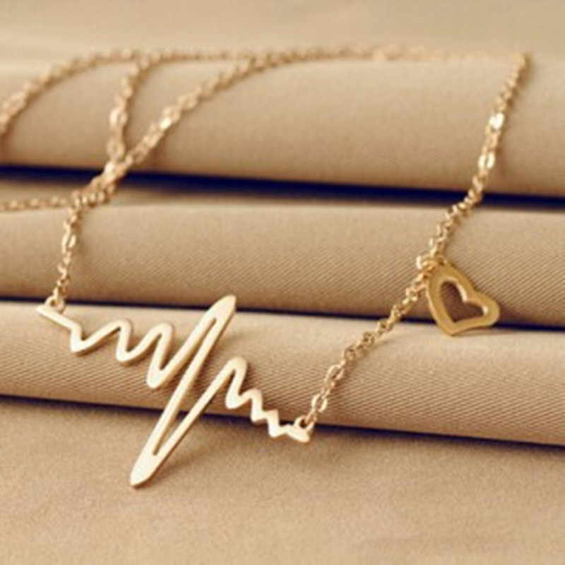 2018 Simple Wave Heart Necklace Chic Ecg Pulse Plated Charm Pendant Necklace Lightning Women Vintage Jewelry Accessories