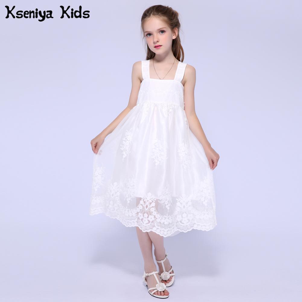 Kseniya Kids Summer Gilrs White birthday Dresses For Children Princess Lace Dress Girl Flower Evening Dresses For Weddings kseniya kids new summer children baby