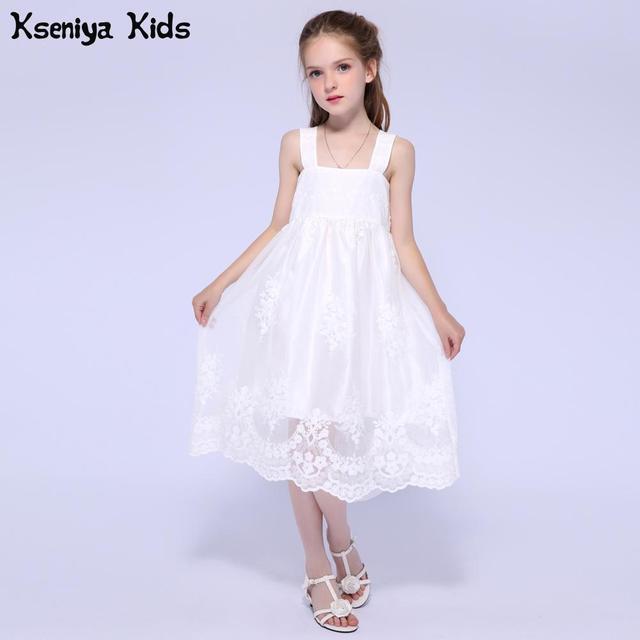 f75c2ed1e1 Kseniya Kids Summer Gilrs White birthday Dresses For Children Princess Lace Dress  Girl Flower Evening Dresses For Weddings
