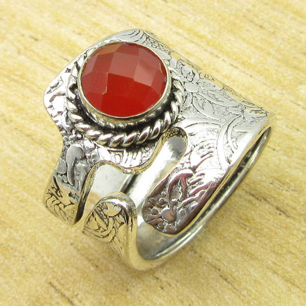 Silver Overlay Rare CARNELIAN JEWEL Ring Size 5.5 ...