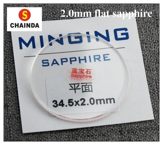 2.0mm de Espessura Plana de Cristal de Safira para o Relógio de Substituição de 20mm a 42mm Frete Grátis Rodada 42mm 1pc a