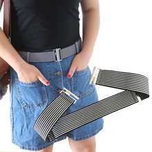4CM Width Elastic Adjustable Belt Fabric 7 Colors Buckle Flat Stretch Jeans Trousers Skirt Waistband Striped Fashion 038-A723