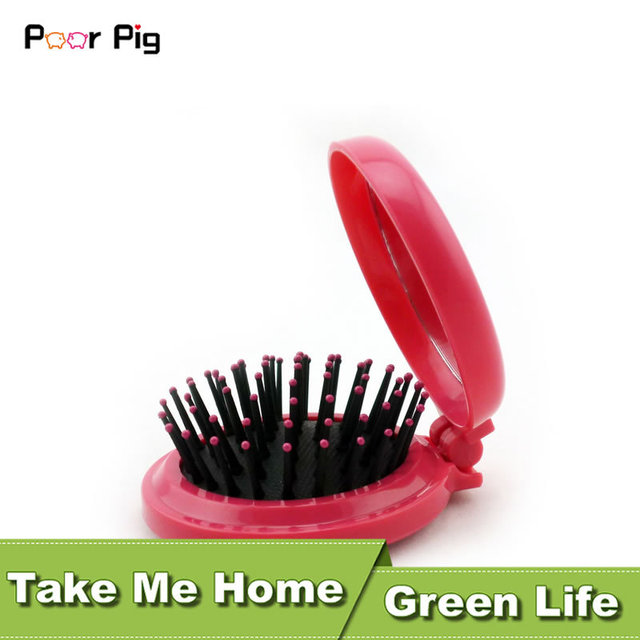 Cute Mini Portable Mirror & Comb Makeup kit Folding Massage Comb Hair Brush Hair Salon Comb Hairbrush Fashion Comb Massage RS-45