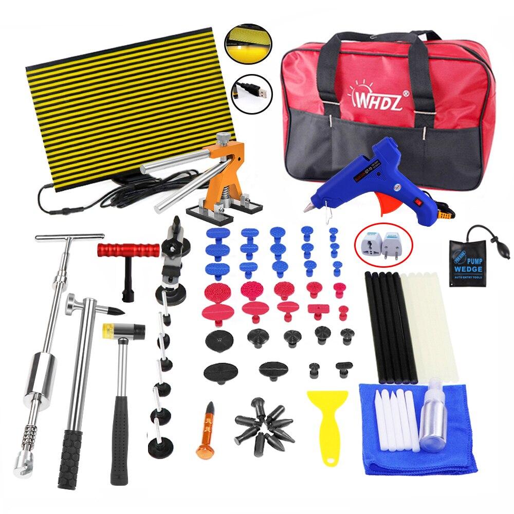WHZD PDR Tools Kit Paintless Dent Repair Dent Removal Car Tools Repair Dent Puller Glue Gun Led Reflector Board Hand Tool Set все цены