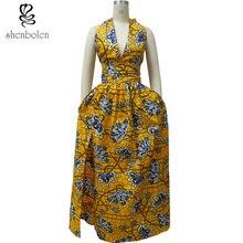 Shenbolen African Dresses For Women Party Dress Ankara Print Sexy neckline short top+Maxi Dress