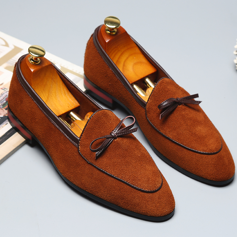 Big Size 37-48 Italian Style Tassel Suede Gentleman Shoes 2020 Fashion Designer Casual Pointed Toe Leather Shoes Retro Scrub