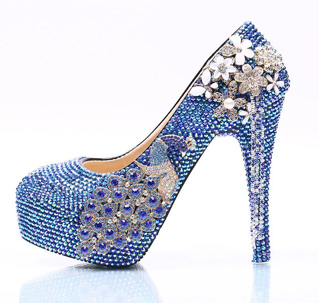 Plus size 41 42 43 super high heeled diamond royal blue crystal wedding shoes womens HS111 ladies luxury handmade party shoe
