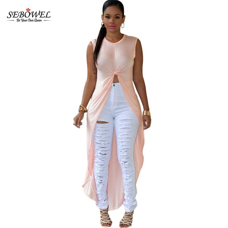 Sebowel women 2 colors o neck sleeveless maxi high split for Sleeveless dress shirt womens