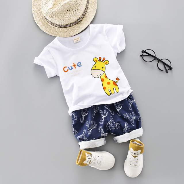 19c95bb56a2a7 1-4Y Girl Boy Summer Clothing Set 2019 New Cute Cartoon Letter Children  Clothing Short Sleeve Shirt Boys Suit For Kids Clothes