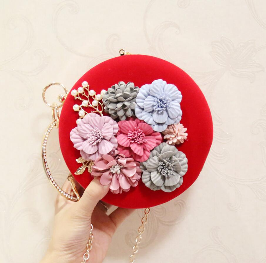 2018 New Women Round Evening Clutch Bags Ladies Day Clutches Female Wedding Bag Flower Appliques Party Clutch Purse with Chains excelsior new arrival day clutches bag purse clutch handbags shiny ultrathin women evening party bags gold sequins envelope bag