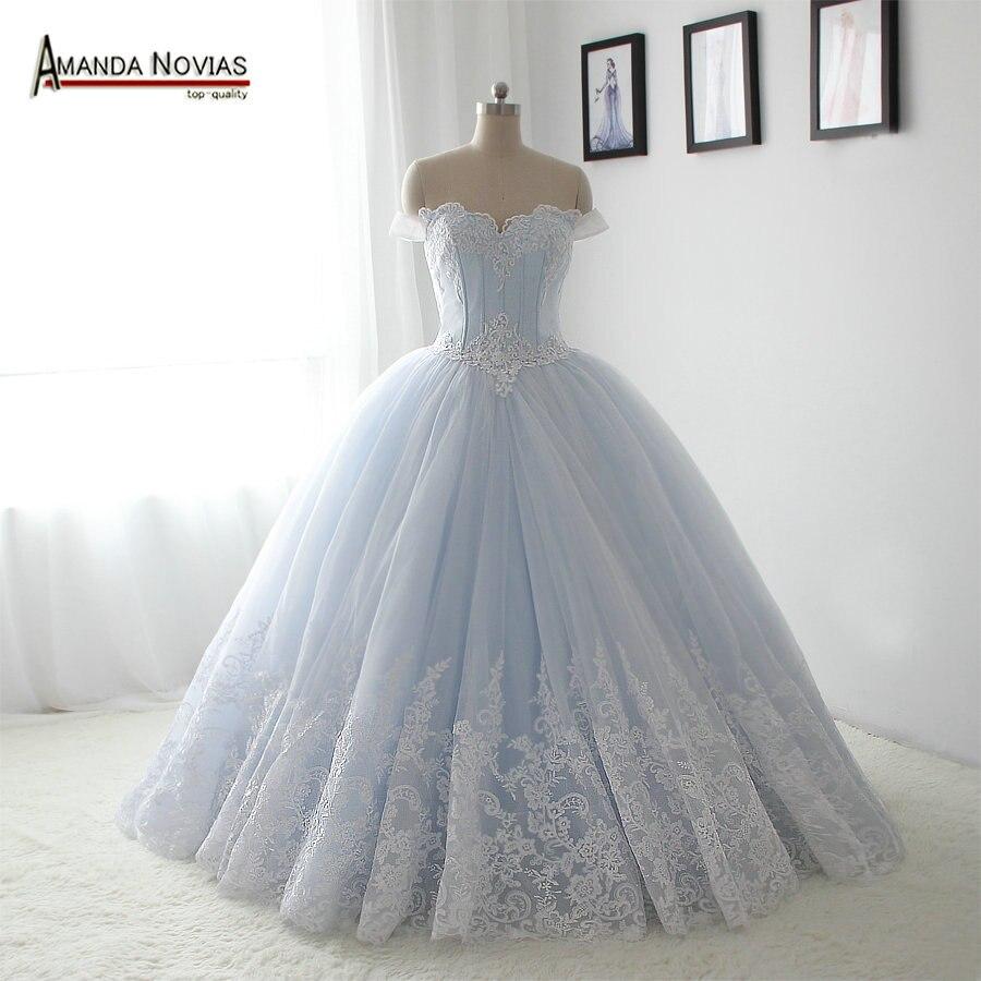 100% fotos reales blanco Cenicienta vestido de novia esponjosa ...