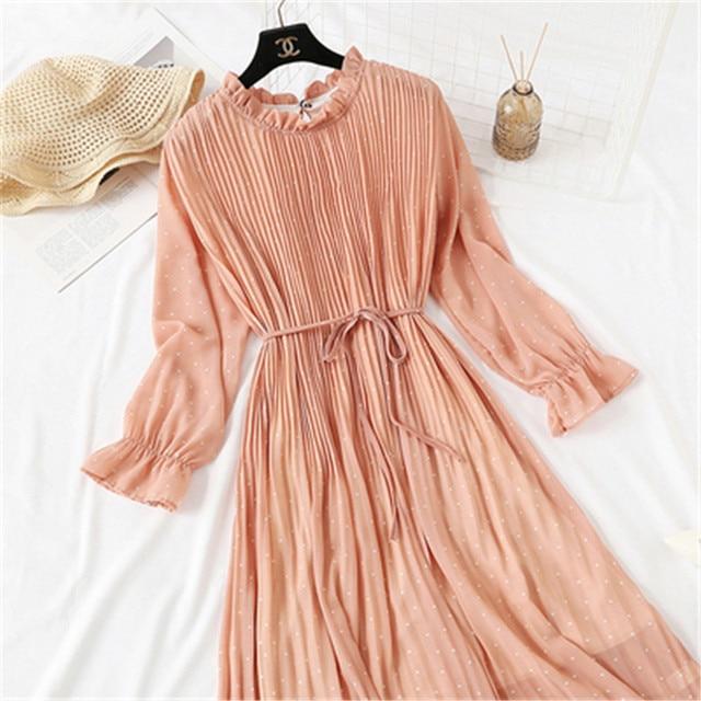 2020 Spring Summer New Hot Women Print Pleated Chiffon Dress  Fashion Female Casual Flare Sleeve Lotus leaf neck Basic Dresses86 4