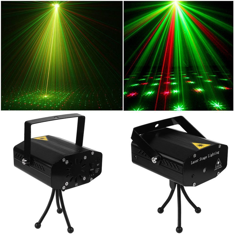 2Pc DJ Disco Light Projector Stage Laser Light Party Green Red Voice Control