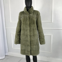 CNEGOVIK women's fur coat mink coat real fur mink coats women stand collar 90 CM