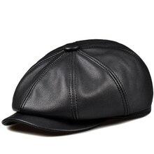 RY993 Новинка унисекс зимняя черная шляпа из натуральной кожи с тыквой для женщин и мужчин, облегающая Корейская ковбойская Кепка, модная кепка Newsboy