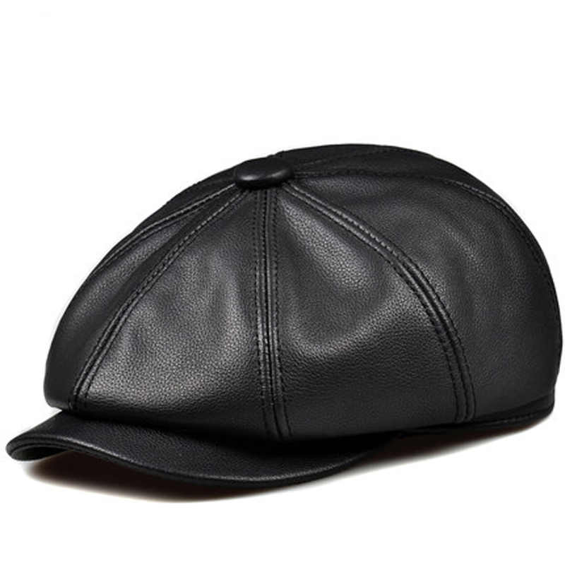 RY993 New Unisex Winter Pumpkin Black Genuine Leather Hat Women Men Fitted  Korean Steet Cowboy Casquette ac15c6f20640