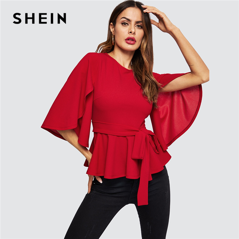 SHEIN Red Split Flared Half Sleeve Belted Peplum Solid Blouse Top Women Spring Office Lady Zipper Back Elegant Workwear Blouses