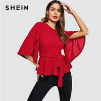 SHEIN rojo Split acampanado media manga con cinturón Peplum sólido blusa Top mujer primavera Oficina señora cremallera espalda elegante blusas de trabajo