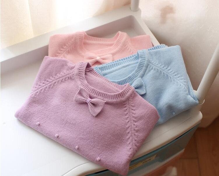 Primavera otoño bebé recién nacido Ropa chica moda niños de punto Suéteres arco lindo vestir exteriores Jerséis edad 0-2y