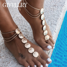 GIVVLLRY Bohemian Flower Tassel Anklets Gypsy Gold Silver Color Carved Foot Bracelet Indian Jewelry Vintage Anklets for Women
