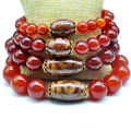 Yumten Beads For Diy Bracelets Red Agate Naturelle 8mm 10mm 12mm 14mm Dzi Unisex Women Men Bracelet 22cm Trendy Strand Bracelets