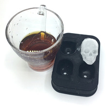 Sale 1PC Hot Large Ice Cube Tray Pudding Mold 3D Skull Silicone 4-Cavity DIY Maker Household Use