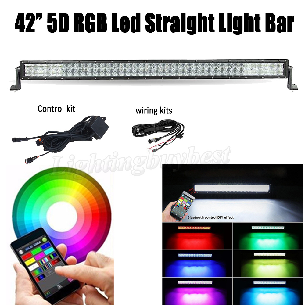 42INCH 240W LED RGB Straight 5D Work Light Bar Combo For CREE chips Offroad ATV SUV Driving 4X4 4WD Boat Bluetooth App Control