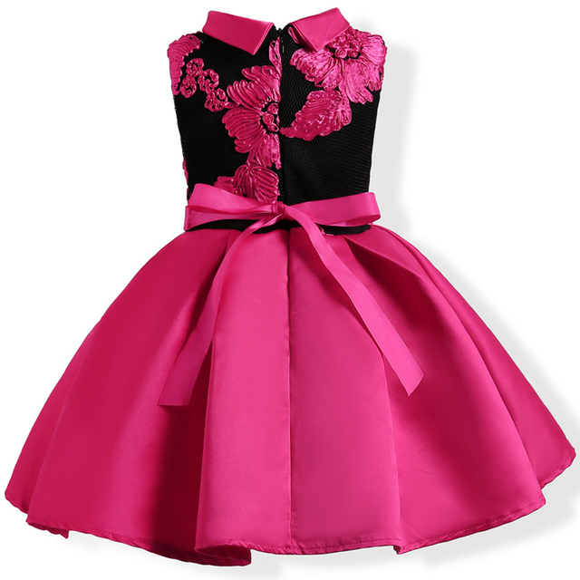 Baby Girl Embroidery Silk Princess Dress For Wedding Party Kids Dresses Toddler Children Fashion Christmas Clothing