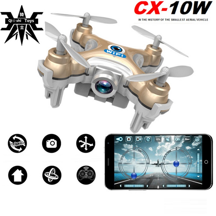 mini rc drone CX-10W With Camera 2.4G 4CH remote control rc Quadcopter RTF Headless Mode 3d flip wifi mobile control drone gifts f809 2 in 1 rc flying car 4wd 2 4g 4ch remote control drone with wifi camera rc quadcoter headless mode 360 degree vs x25 x9
