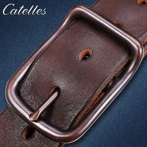 Image 5 - Catelles Male belt Cow strap male Genuine Leather vintage mens belts Pin Buckle Designer Belts For Men leather belt men 6010