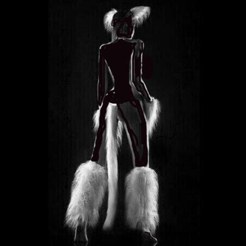 White Sexy Fetish Maid Pet Play Game Costume Set Furry Head Piece Pet Paw Leg Piece