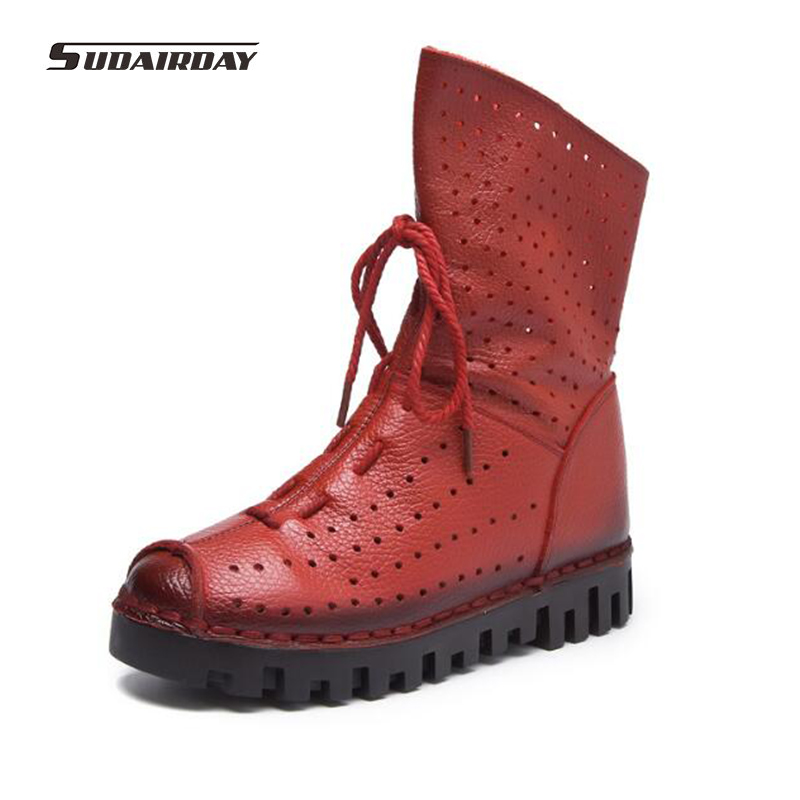 2017 Vintage Style Genuine Leather Women Boots Handmade Soft Cowhide  Platform Shoes Woman Round Toes Cut