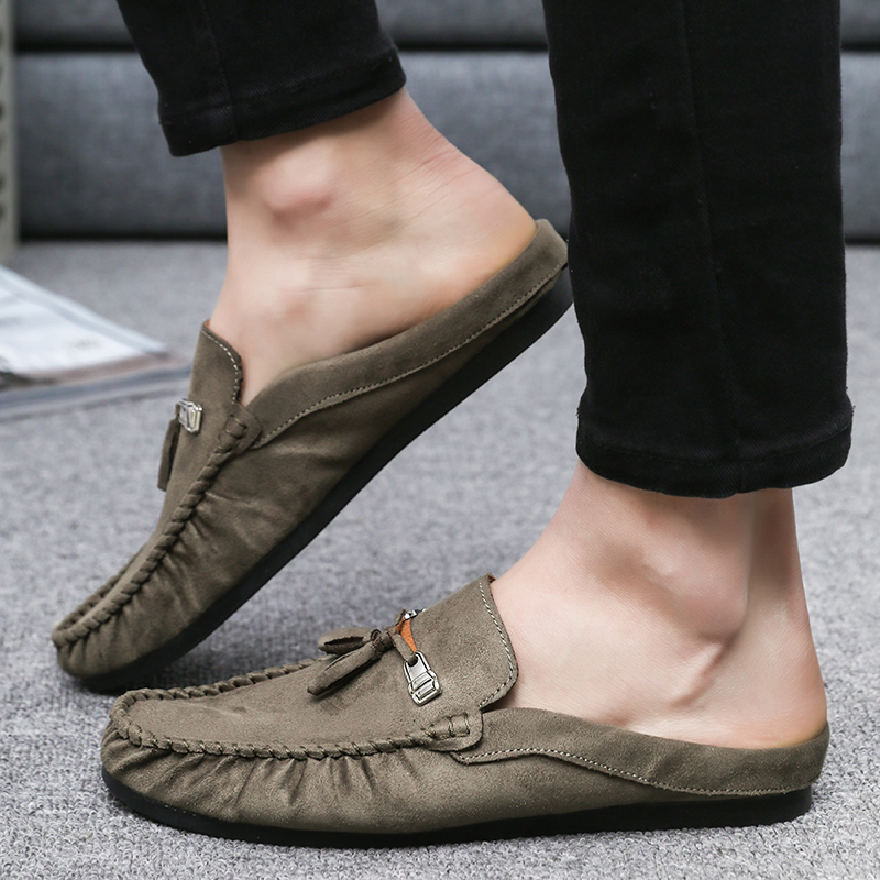 2019Fashion Leather Slippers Men Animal Rubber Light Fashion Slides Men Funny Shoes New Sandals Summer Leather Slippers Platform in Slippers from Shoes