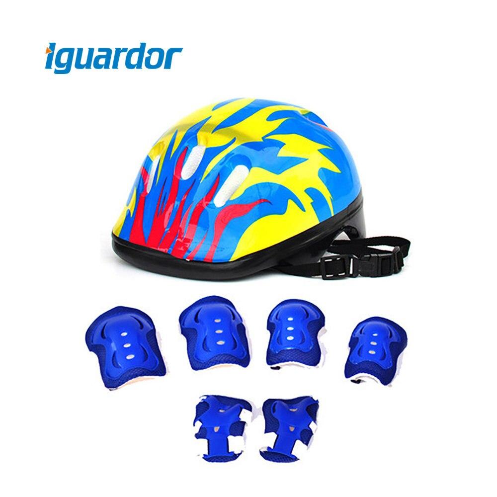 Acheter Iguardor 7 pcs Ensemble Coude Poignet Genouillères et Casque Sport Sécurité Équipement De Protection Garde pour Enfants Vélo Accessoires de cycling helmet pads fiable fournisseurs