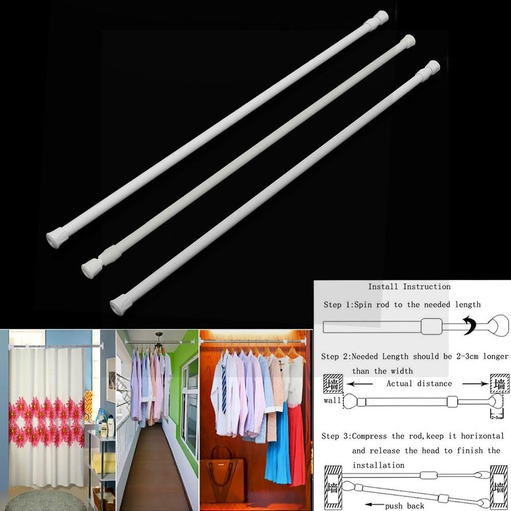 Cabinet Telescopic Pole Closet Curtain Rail Pole Shower Window Extendable Tension Rod Adjustable