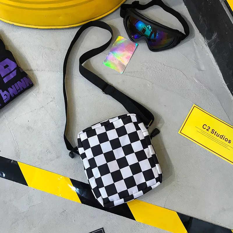 女性キャンバスバッグスタイル原宿スタイルコントラスト色韓国スタイルおしゃれなカジュアルメッセンジャーショルダーバッグ