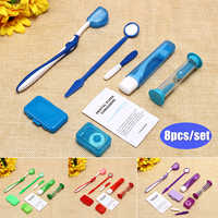 4 Colors Dental Teeth Orthodontic Kits 8Pcs/Set Oral Cleaning Care Whitening Tool Suit Interdental Brush Floss Thread Wax Mirror
