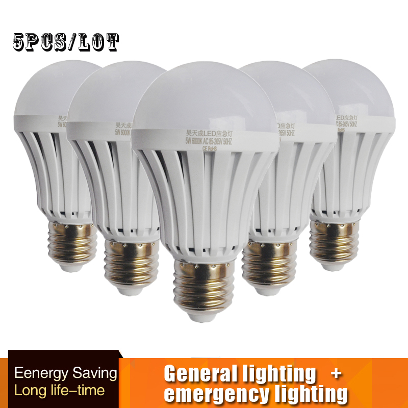 LED Emergency Light Bulb Automatic Charging 5W 7W 9W Cold White Rechargeable Battery Lamp E27 AC85-265V Firefighter LED Lampada