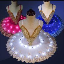 Профессиональный светодиодный светильник балетная пачка «Лебединое озеро» Костюм Балерины для девочек детское балетное платье танцевальная одежда вечерние костюмы для сцены
