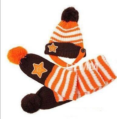 Новинка; Милая зимняя Детская шерстяная шапка с пентаграммой; Милая зимняя шапка с ушами и улыбающимся лицом; теплая шапка с рукавами для малышей; шарф; головной убор; комплект - Цвет: E