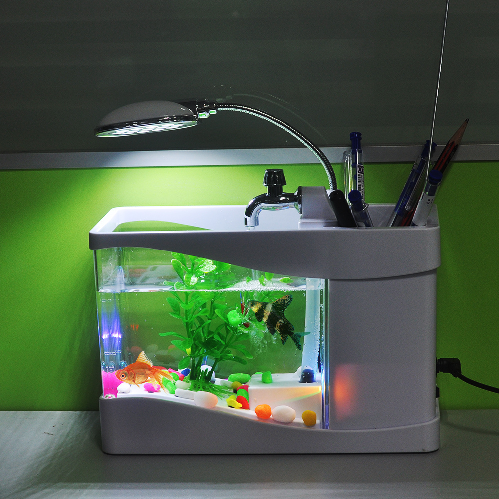 New arrival usb fish tank aquarium with led light desktop for Aquarium house decoration