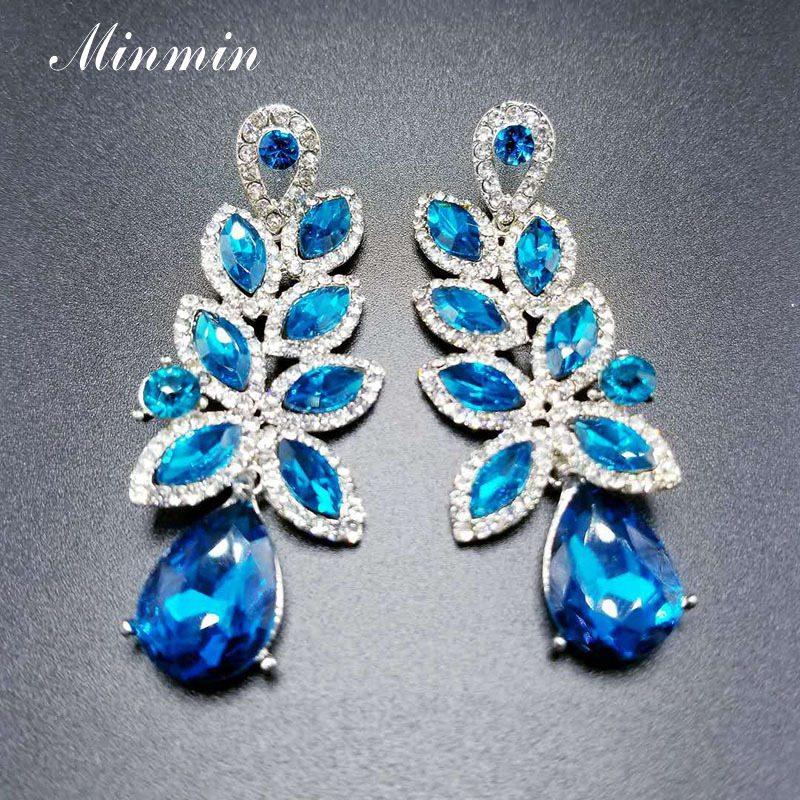 Minmin Cute Leaf Shape Crystal Earrings for Women New Cluster Flower Rhinestone Teardrop Pendant Earrings Fashion Jewelry EH1585