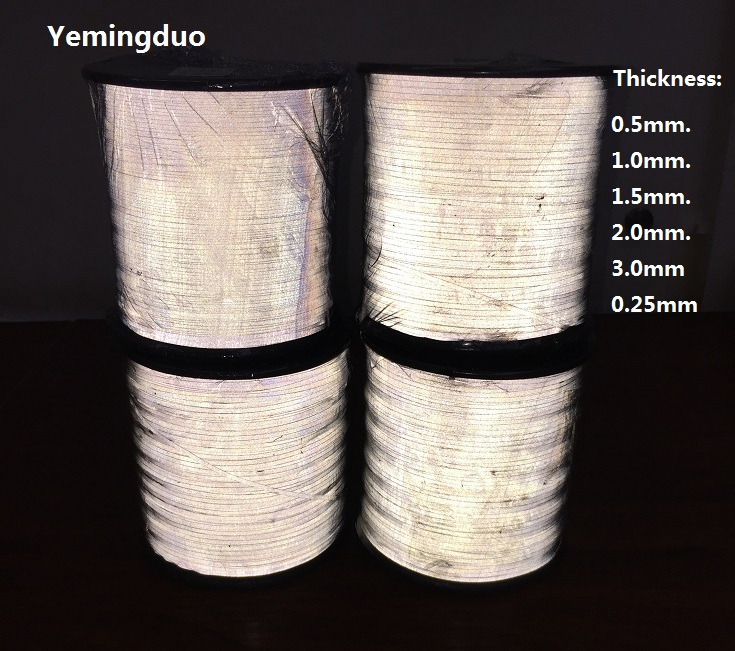 0.5/1.0/1.5/2.0/3.0/0.25MM Reflective Thread Normal Light Brightness Two Side Reflective Effection Warning Reflective Material
