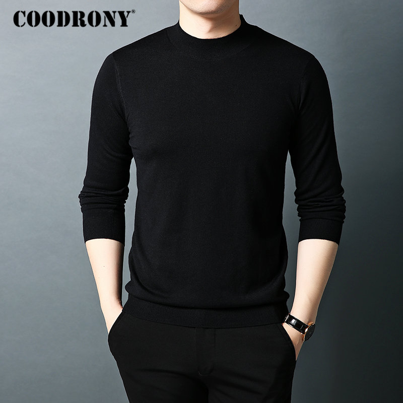 Image 3 - COODRONY Brand Sweater Men Autumn Winter Turtleneck Wool Sweaters  Classic Pure Color Pullover Men Warm Knitwear Pull Homme  91066Pullovers