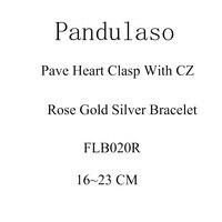 Pandulaso Pave Heart Rose Gold Bracelet Original 925 Sterling Silver Jewelry Fit European Charms Beads Woman