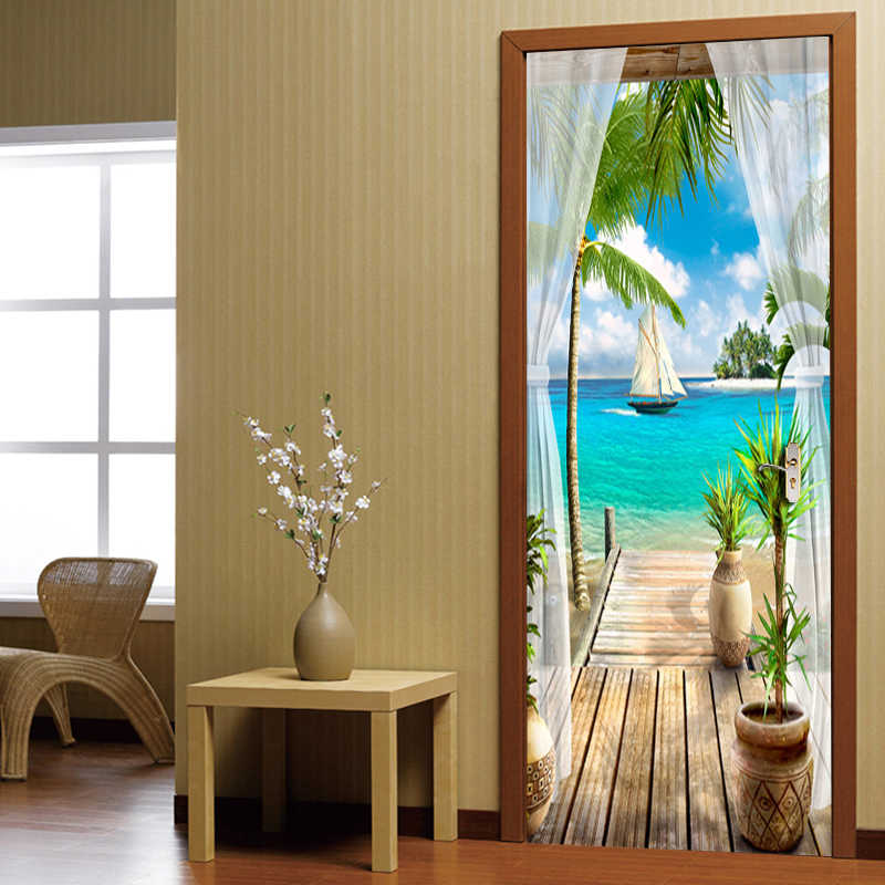 Balcony Sea View 3D Door Sticker Wall Painting Living Room Bedroom Door Wallpaper Wall Stickers Self-adhesive Waterproof Decor