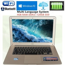 "Free DHL 14.1"" 1920X1080P ultrabook Laptop computer Intel J1900 Quad-core 2.0GHz 4GB RAM+120GB SSD WIFI Win7/10 Laptops notebook"