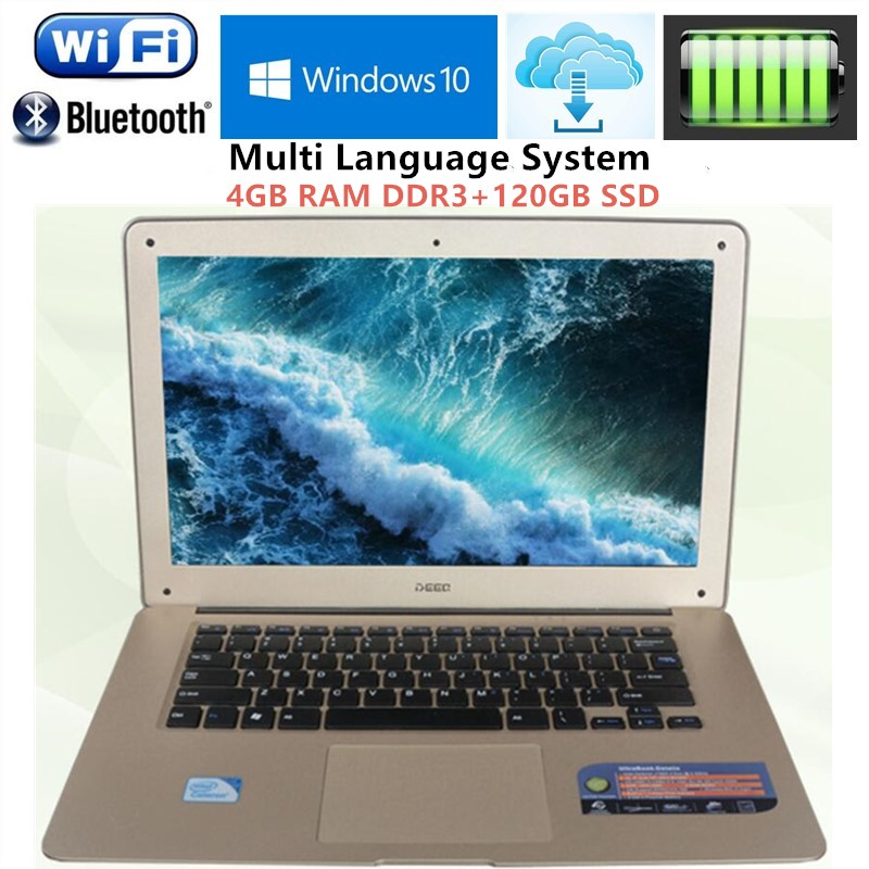 Бесплатная DHL 14.1 1920x1080 P Ultrabook ноутбук Intel n3520 quad-core 2.16 ГГц 4 ГБ оперативная память + 120 ГБ SSD WI-FI Win7/10 Ноутбуки ноутбук ...