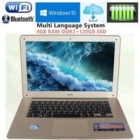 Free DHL 14.11920X1080P ultrabook Laptop computer Intel N3520 Quad core 2.16GHz 4GB RAM+120GB SSD WIFI Win7/10 Laptops notebook
